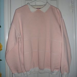 Pastel Pink Sweater with White Collar and Cuff.
